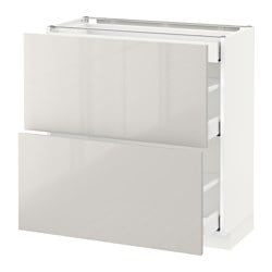 METOD base cab with 2 fronts/3 drawers, white Maximera, Ringhult light grey