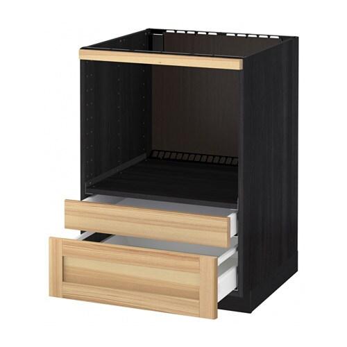 METOD Base cabinet f combi micro/drawers - wood effect ...