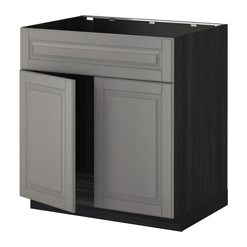 METOD Base cabinet f sink w 2 doors/front - white, Laxarby black ...