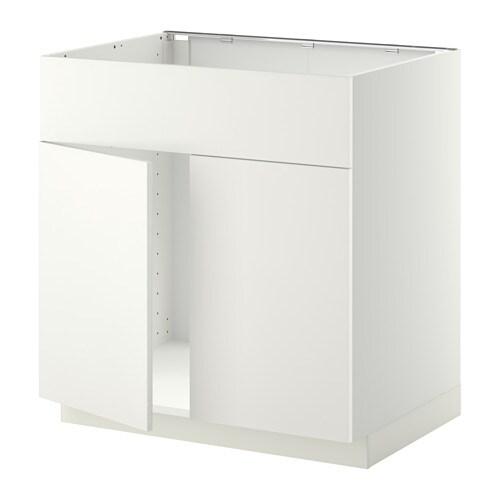 Metod base cabinet f sink w 2 doors front white h ggeby - Patas para muebles ikea ...