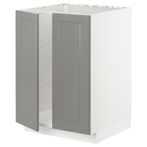 METOD Base cabinet for sink + 2 doors, white/Bodbyn grey, 60x60x80 cm