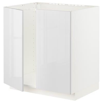 METOD Base cabinet for sink + 2 doors, white/Ringhult white, 80x60x80 cm