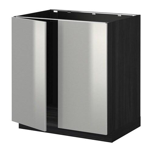 metod base cabinet for sink 2 doors wood effect black