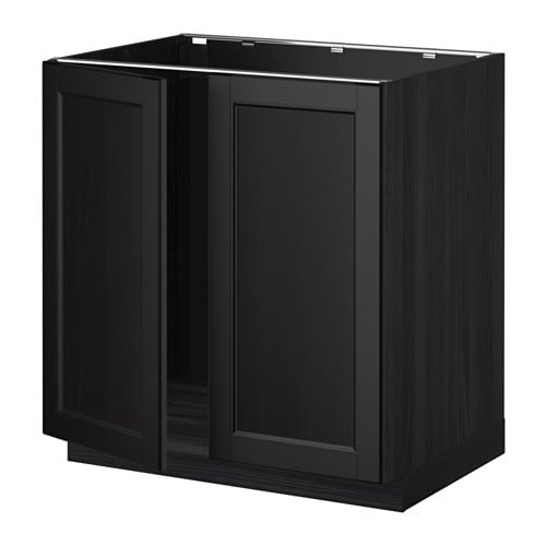 Metod Base Cabinet For Sink 2 Doors Wood Effect Black