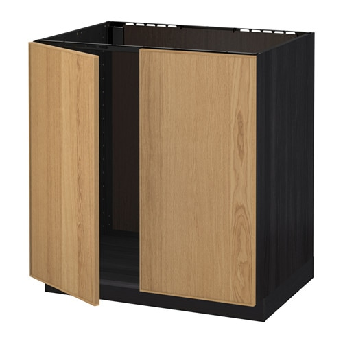 Unterschiedlich METOD Base cabinet for sink + 2 doors - wood effect black  MQ58
