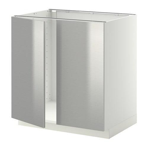 metod base cabinet for sink 2 doors white grevsta