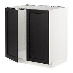 METOD base cabinet for sink + 2 doors, white, Lerhyttan black stained
