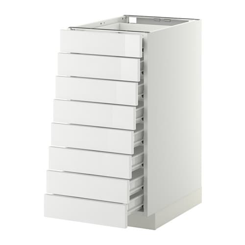 Metod Base Cabinet 8 Fronts 8 Low Drawers F Ringhult High Gloss White 40x60x80 Cm Ikea