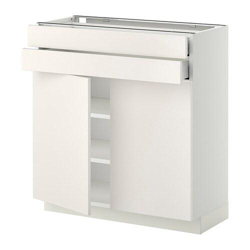 metod base cabinet w 2 doors 2 drawers ma veddinge white 80x37x80 cm ikea. Black Bedroom Furniture Sets. Home Design Ideas