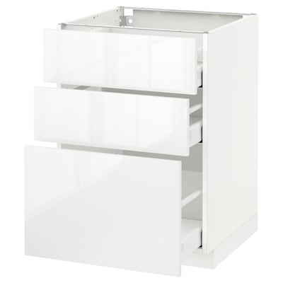 METOD Base cabinet with 3 drawers, white Maximera/Ringhult white, 60x60x80 cm