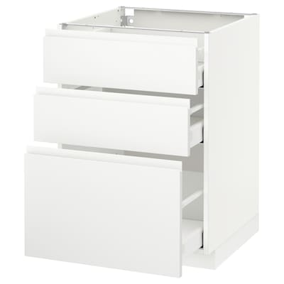 METOD base cabinet with 3 drawers white Maximera/Voxtorp matt white 60.0 cm 62.1 cm 88.0 cm 60.0 cm 80.0 cm