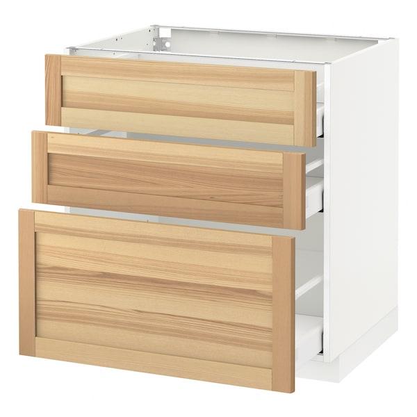 METOD base cabinet with 3 drawers white Maximera/Torhamn ash 80.0 cm 62.0 cm 88.0 cm 60.0 cm 80.0 cm