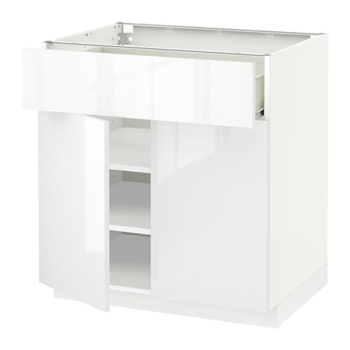 Ikea kitchens bodbyn white and laxarby black brown - Metod Base Cabinet With Drawer 2 Doors White F 246