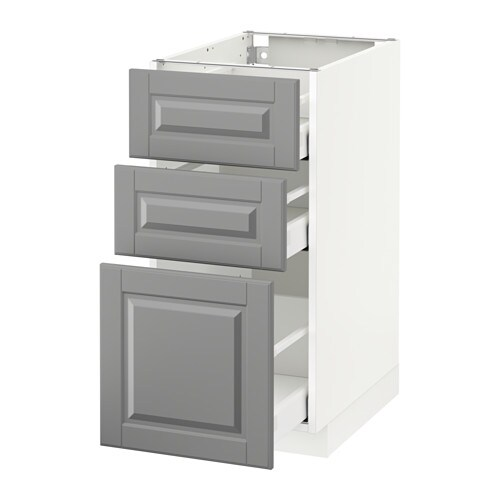 Metod Base Cabinet With 3 Drawers White Ma Bodbyn Grey