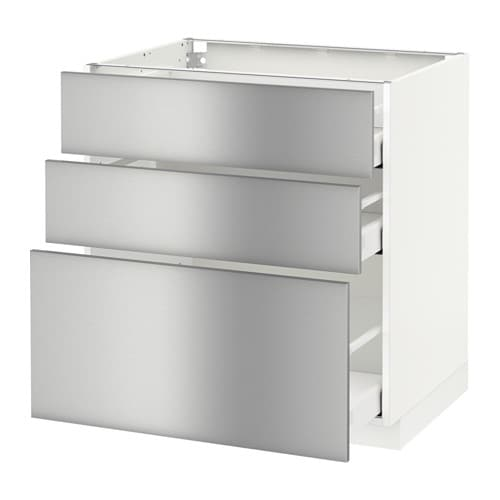 Metod base cabinet with 3 drawers white ma grevsta for Stainless steel kitchen base cabinets