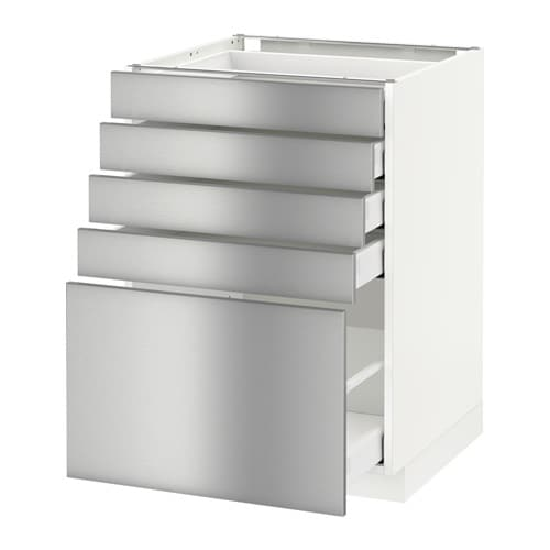 Metod base cabinet with 5 drawers white ma grevsta for Stainless steel kitchen base cabinets