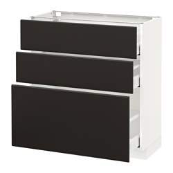 METOD base cabinet with 3 drawers, white Maximera, Kungsbacka anthracite