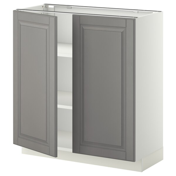 METOD Base cabinet with shelves/2 doors, white/Bodbyn grey, 80x37x80 cm