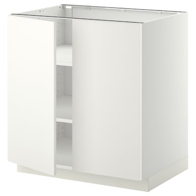 METOD Base cabinet with shelves/2 doors, white/Häggeby white, 80x60x80 cm
