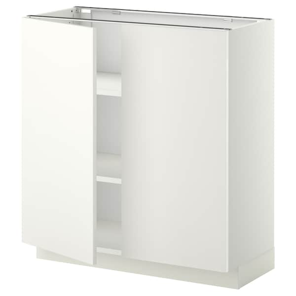 METOD Base cabinet with shelves/2 doors, white/Häggeby white, 80x37x80 cm