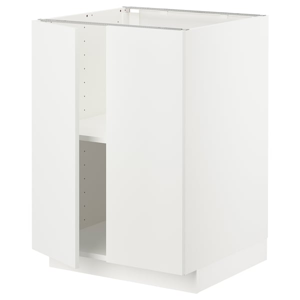METOD Base cabinet with shelves/2 doors, white/Häggeby white, 60x60x80 cm