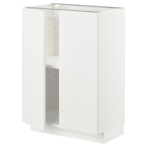 METOD Base cabinet with shelves/2 doors, white/Häggeby white, 60x37x80 cm