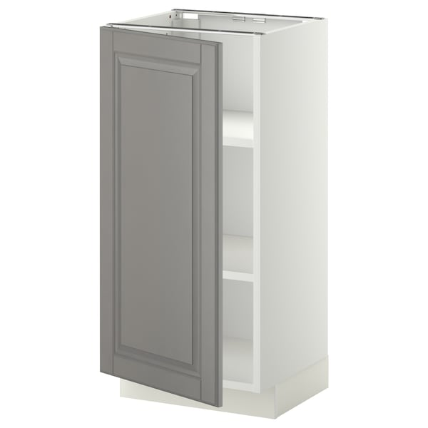 METOD Base cabinet with shelves, white/Bodbyn grey, 40x37x80 cm