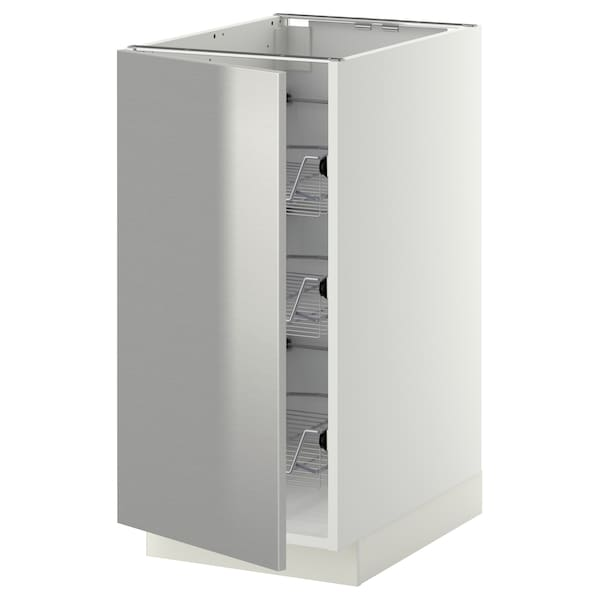 METOD base cabinet with wire baskets white/Grevsta stainless steel 40.0 cm 60 cm 61.8 cm 80.0 cm