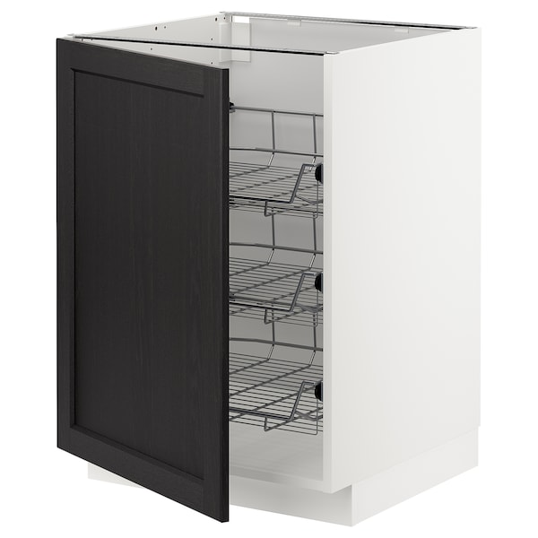 METOD Base cabinet with wire baskets, white/Lerhyttan black stained, 60x60x80 cm