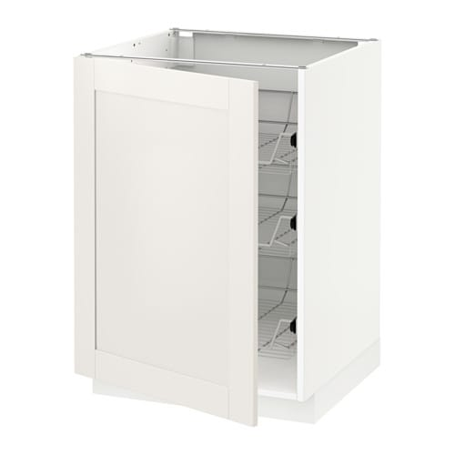 METOD Base cabinet with wire baskets - white, Sävedal ...