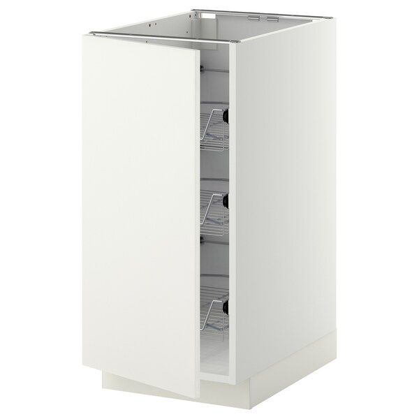 METOD base cabinet with wire baskets white/Häggeby white 40.0 cm 60 cm 61.6 cm 80.0 cm