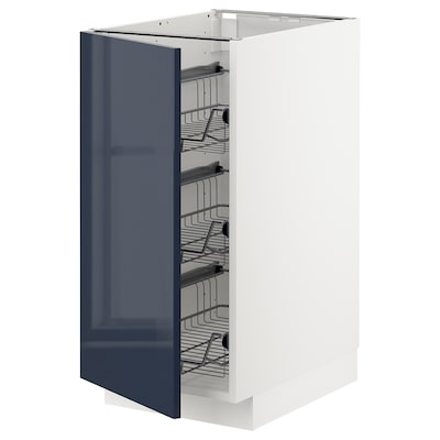 METOD base cabinet with wire baskets white/Järsta black-blue 40.0 cm 60 cm 61.7 cm 80.0 cm