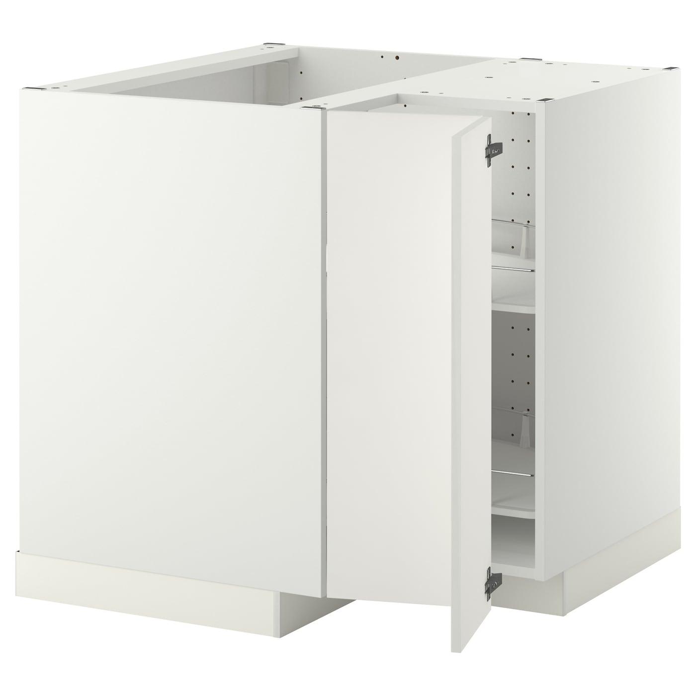 METOD Corner base cabinet with carousel, white, Häggeby ...