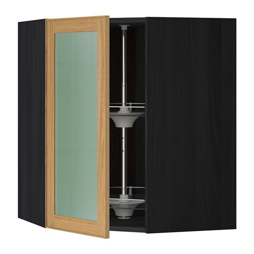Metod corner wall cab w carousel glass dr wood effect for Oak effect kitchen wall units