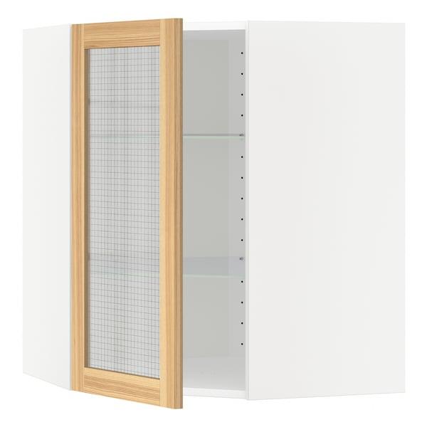 METOD Corner wall cab w shelves/glass dr, white/Torhamn ash, 68x37x80 cm