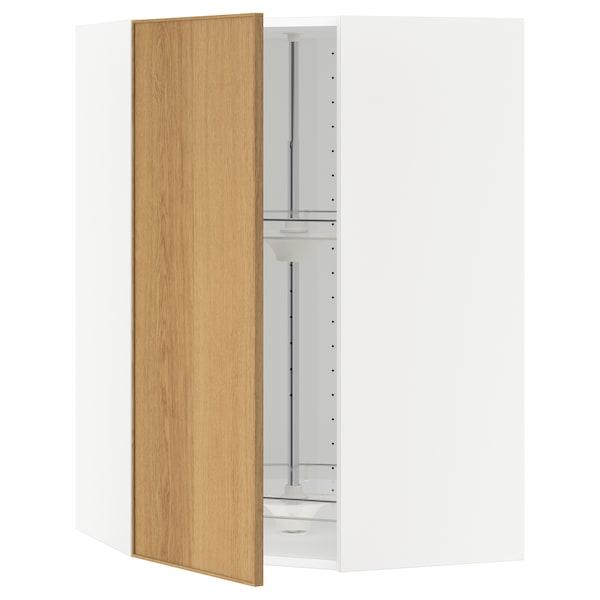 METOD corner wall cabinet with carousel white/Ekestad oak 67.5 cm 37.0 cm 67.5 cm 100.0 cm