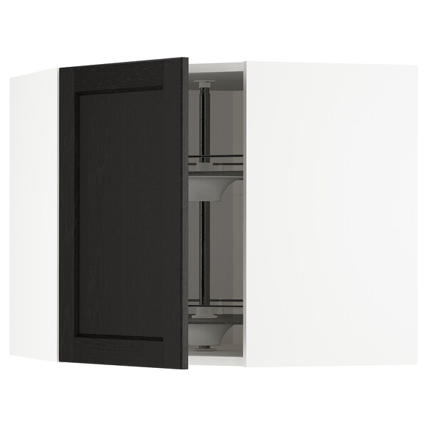 METOD corner wall cabinet with carousel white/Lerhyttan black stained 67.5 cm 37.0 cm 67.5 cm 60.0 cm