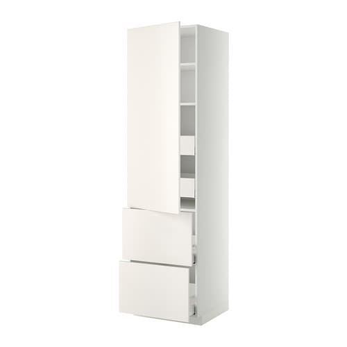 metod hi cab w shlvs 4 drawers dr 2 frnts white ma veddinge white 60x60x220 cm ikea. Black Bedroom Furniture Sets. Home Design Ideas