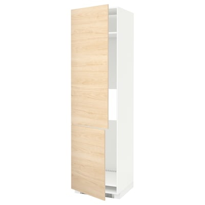 METOD High cab f fridge/freezer w 2 doors, white/Askersund light ash effect, 60x60x220 cm