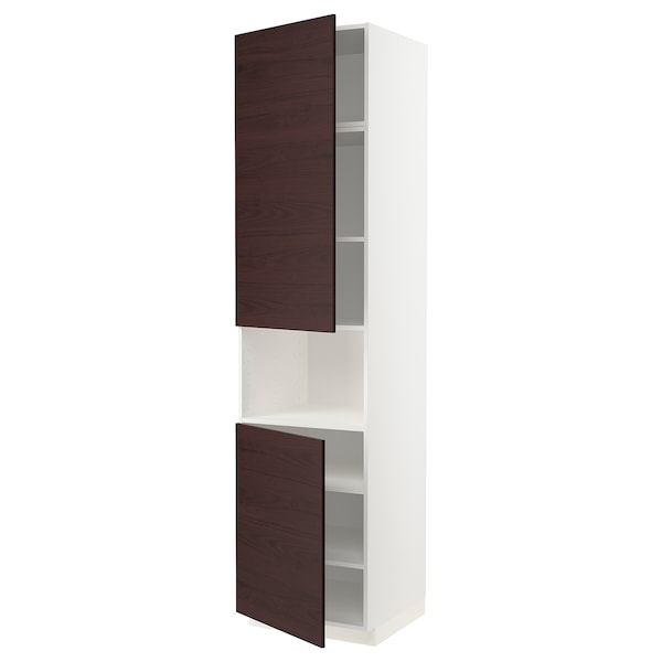 METOD High cab f micro w 2 doors/shelves, white Askersund/dark brown ash effect, 60x60x240 cm