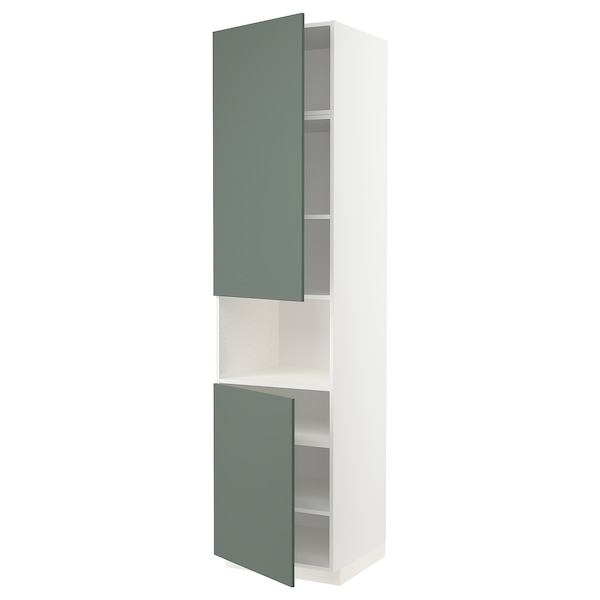 METOD High cab f micro w 2 doors/shelves, white/Bodarp grey-green, 60x60x240 cm