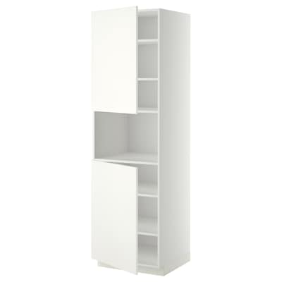 METOD High cab f micro w 2 doors/shelves, white/Häggeby white, 60x60x200 cm