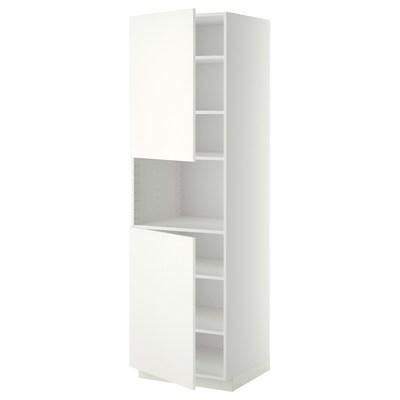 METOD High cab f micro w 2 doors/shelves, white/Häggeby white, 60x60x200 cm