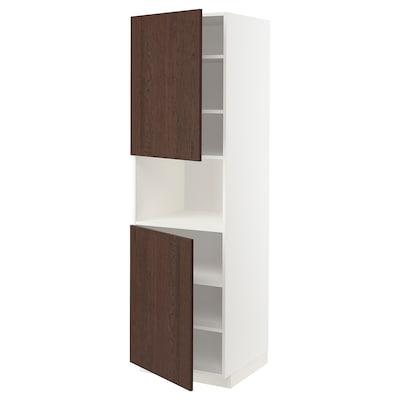 METOD High cab f micro w 2 doors/shelves, white/Sinarp brown, 60x60x200 cm