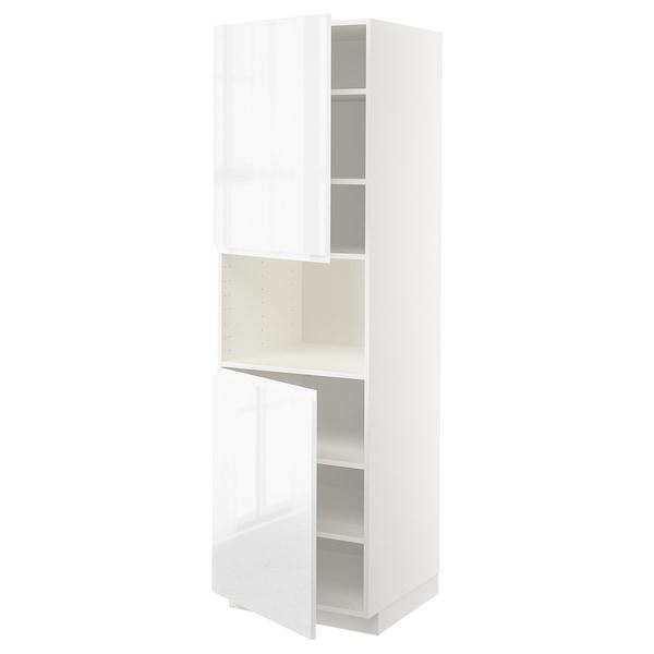 METOD High cab f micro w 2 doors/shelves, white/Voxtorp high-gloss/white, 60x60x200 cm