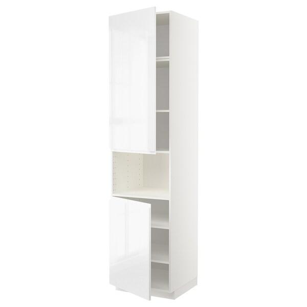 METOD High cab f micro w 2 doors/shelves, white/Voxtorp high-gloss/white, 60x60x240 cm