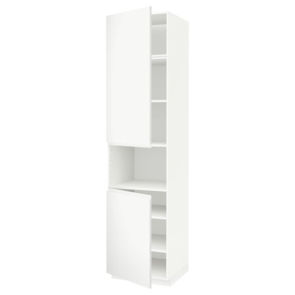 METOD High cab f micro w 2 doors/shelves, white/Voxtorp matt white, 60x60x240 cm