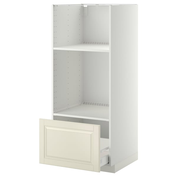 METOD High cab for oven/micro w drawer, white Maximera/Bodbyn off-white, 60x60x140 cm