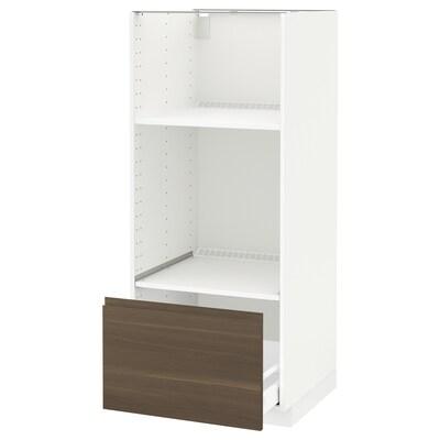 METOD high cab for oven/micro w drawer white Maximera/Voxtorp walnut 60.0 cm 62.1 cm 148.0 cm 60.0 cm 140.0 cm