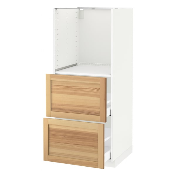 METOD High cabinet w 2 drawers for oven, white Maximera/Torhamn ash, 60x60x140 cm